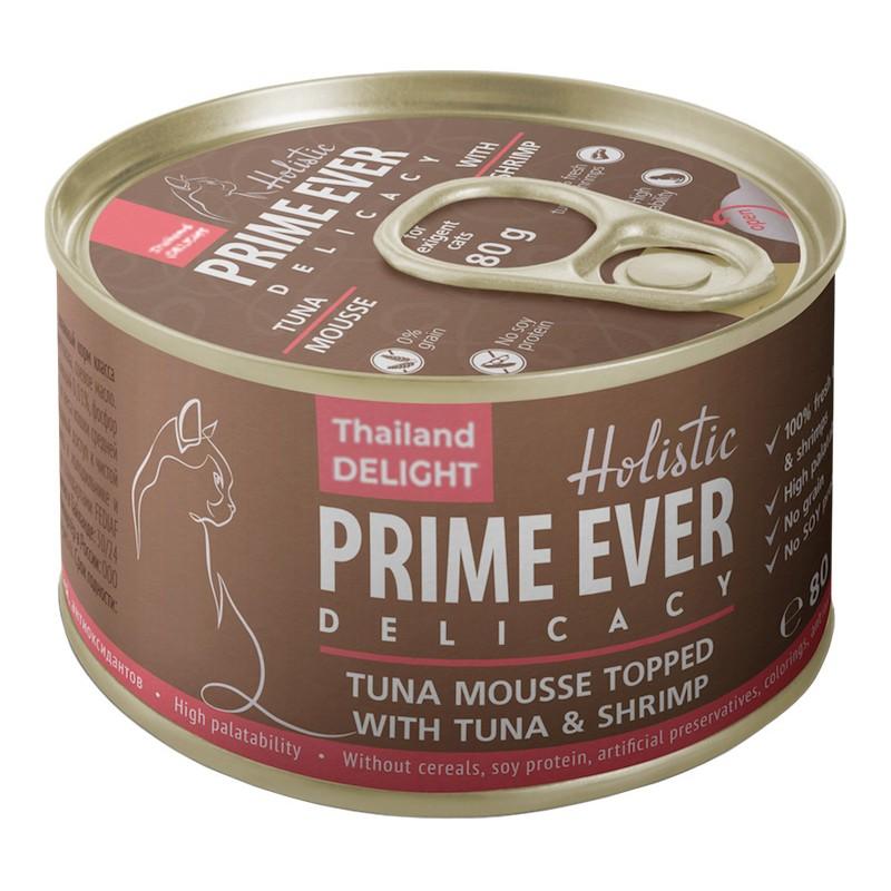 Влажный корм для кошек Prime Ever Delicacy Мусс тунец с креветками 0,08 кг