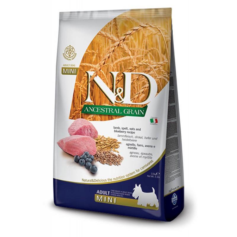 Сухой корм для собак Farmina N&D Ancestral Grain Adult Mini низкозерновой с ягненком и черникой 2,5 кг