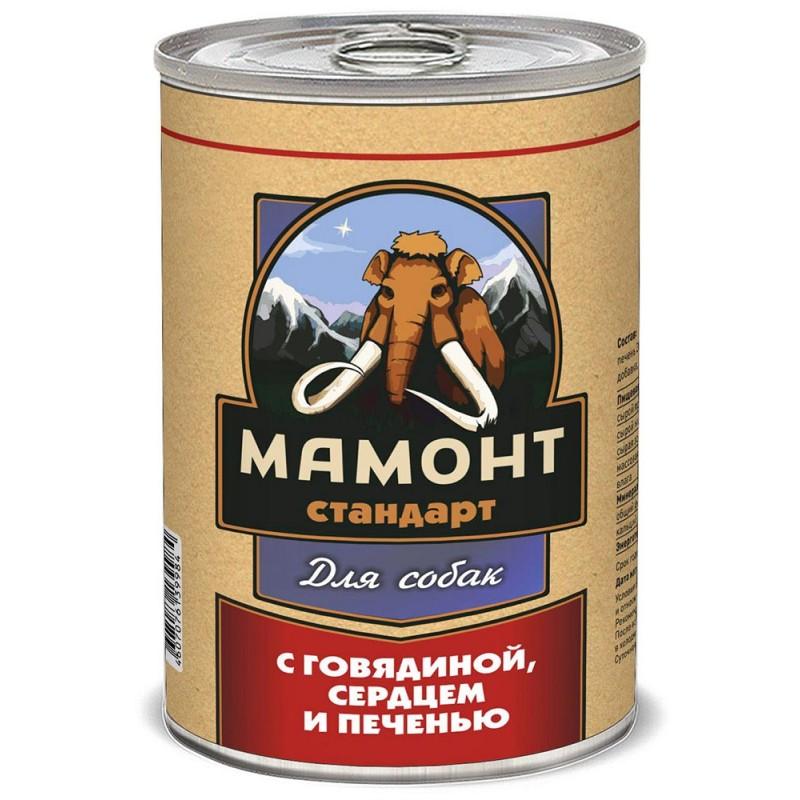 Влажный корм для собак Мамонт Стандарт Говядина, сердце и печень 0,97 кг