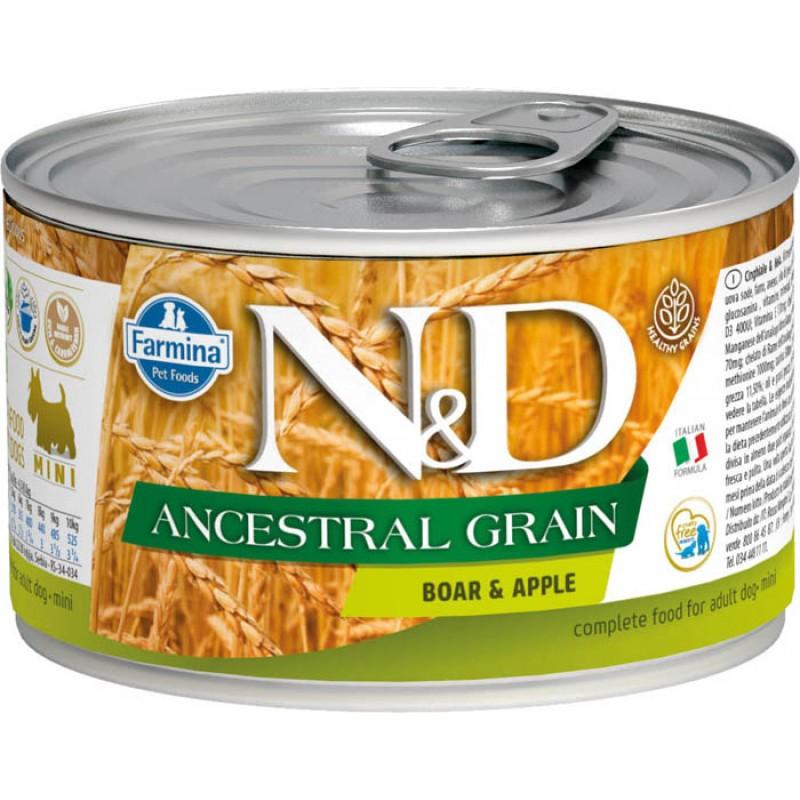 Влажный корм для собак Farmina N & D Ancestral Grain Boar & Apple Mini с кабаном и яблоком для маленьких пород 0,14 кг