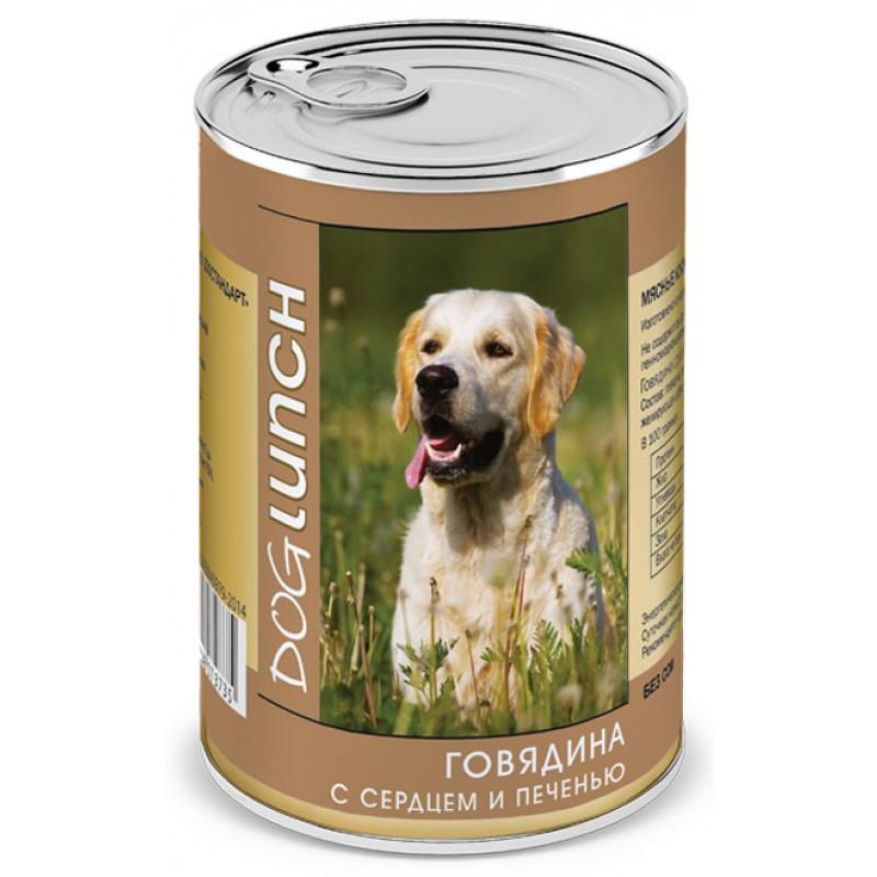 Влажный корм для собак Dog Lunch Говядина с сердцем и печенью 0,41 кг