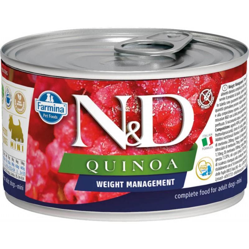 Влажный корм для собак Farmina N & D Dog Quinoa Weight Management Mini с киноа для контроля веса для маленьких пород 0,14 кг