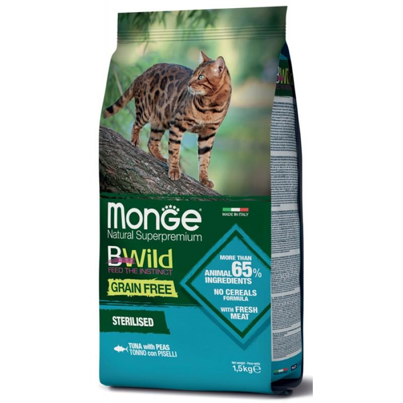 Сухой корм для кошек Monge BWild Grain Free  с тунцом и горохом для стерилизованных 1,5 кг