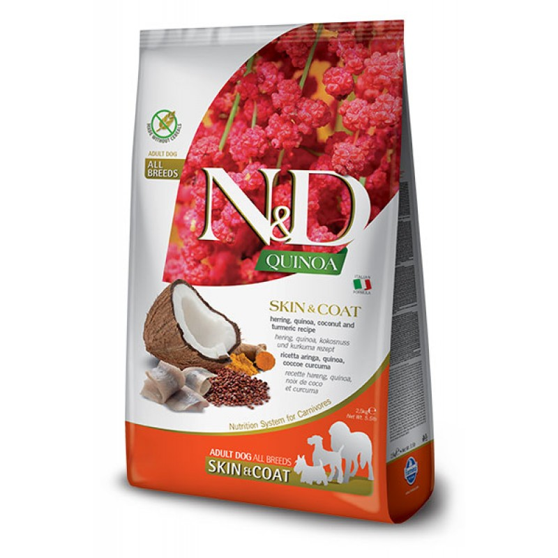 Сухой корм для собак Farmina N&D Quinoa Skin & Coat беззерновой с сельдью и киноа 0,8 кг