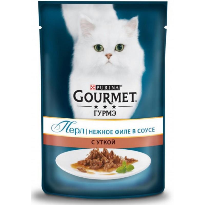 Влажный корм для кошек Gourmet Perle пауч кусочки в подливе с уткой 0,085 кг