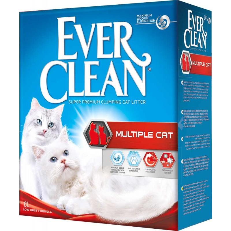 Наполнитель Ever Clean Multiple Cat комкующийся бентонит свежесть 6кг 6 л