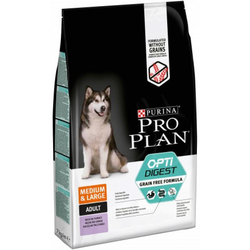 Сухой корм для собак Purina Pro Plan Grain Free для средних пород с чувствительным пищеварением с индейкой 7 кг