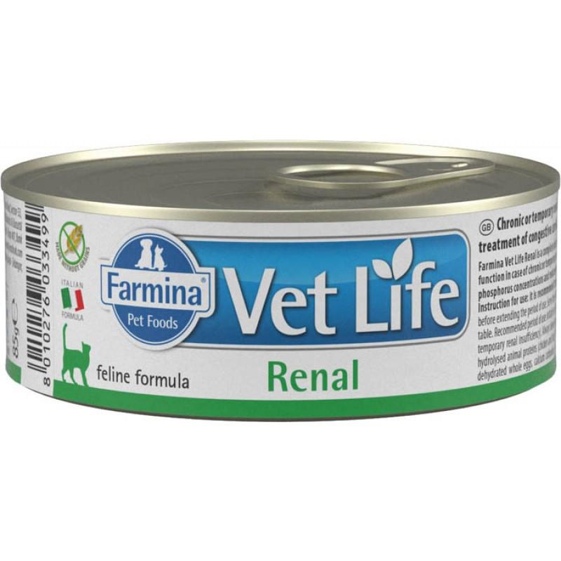 корм Farmina Vet Life Natural Diet Renal паштет диета для кошек 0,085 кг