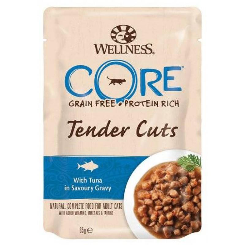 Влажный корм для кошек Wellness Core Tender Cuts Нежные Кусочки Тунца в Пикантном Соусе 0,085 кг