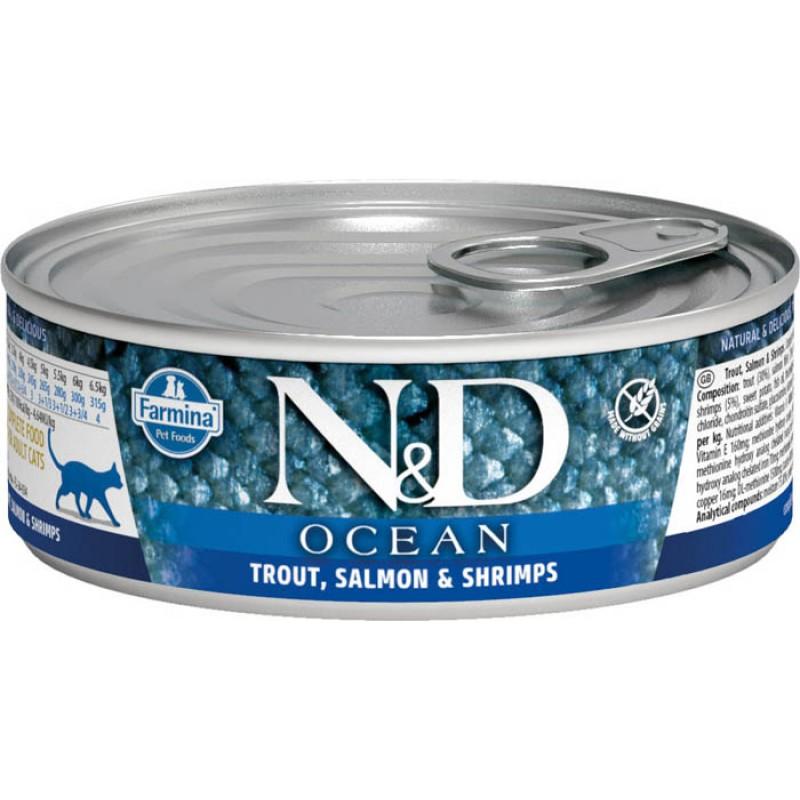 Влажный корм для кошек Farmina N & D Ocean Trout, Salmon & Shrimp с форелью, лососем и креветками 0,08 кг