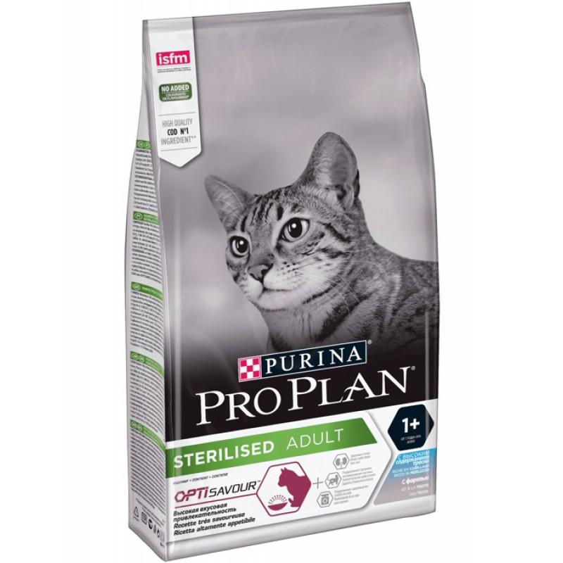 Сухой корм для кошек Purina Pro Plan Sterilised Adult Cod&Trout с треской и форелью 10 кг