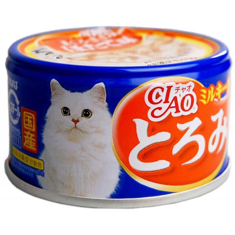 Влажный корм для кошек Premium Pet Inaba Мраморная вырезка тунца с гребешком  и парным филе курицы в сливочном соусе 0,08 кг