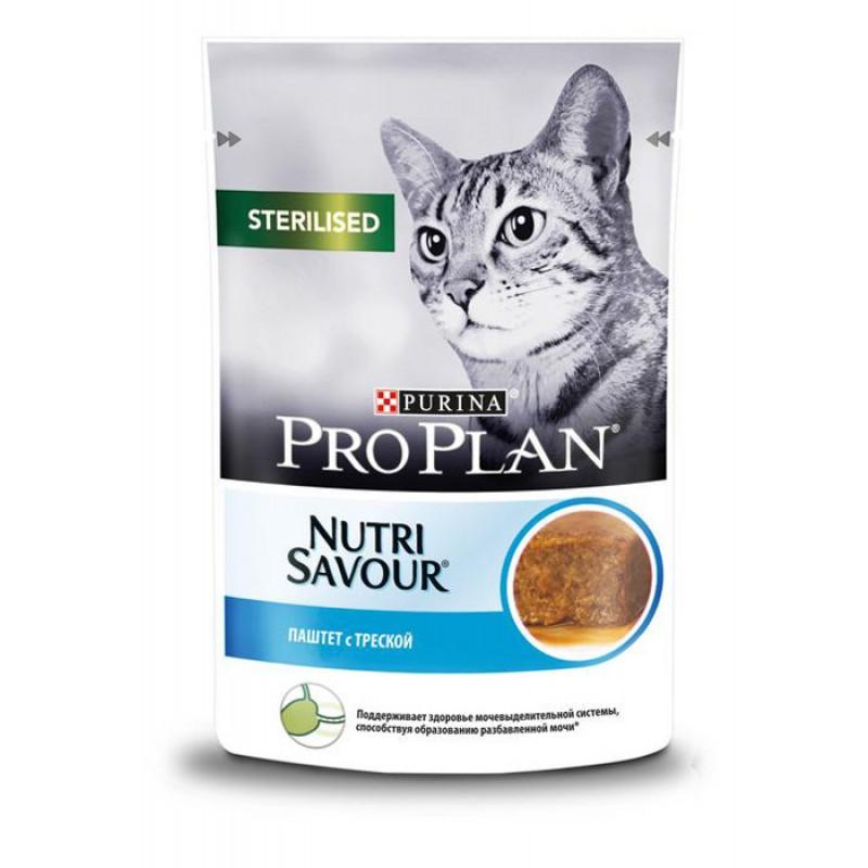 Влажный корм для кошек Purina Pro Plan Nutrisavour Sterilised паштет с треской 0,085 кг
