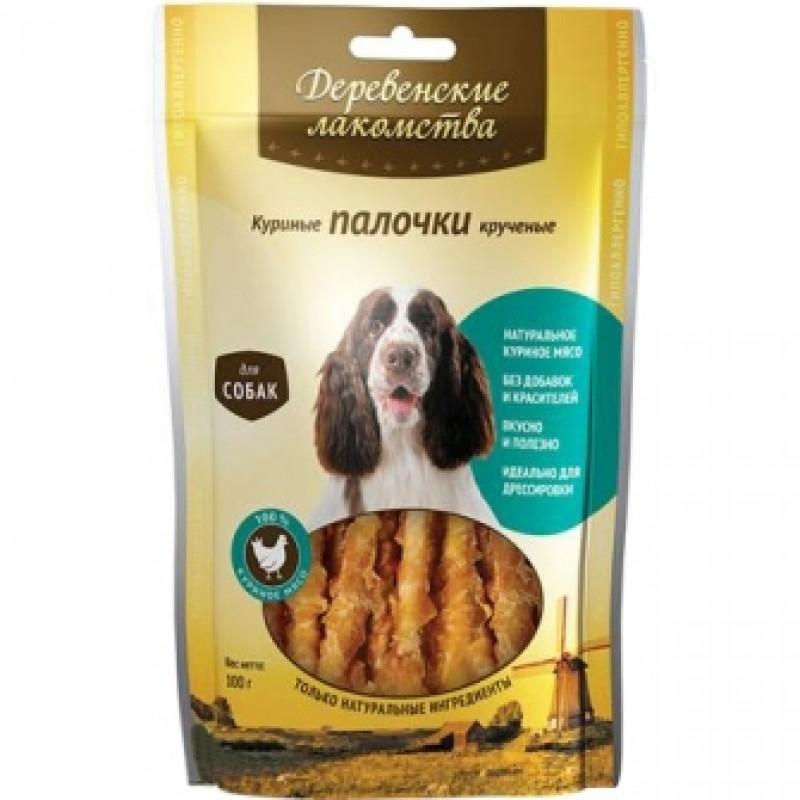 Лакомство для собак Деревенские Лакомства 100% Мяса Куриные палочки крученые 0,09 кг