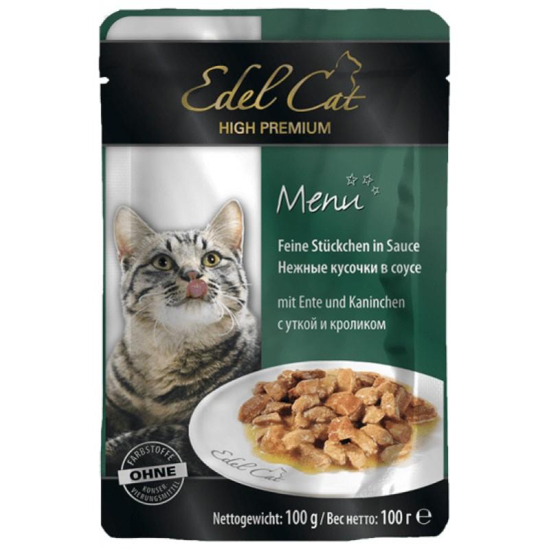 Влажный корм для кошек Edel Cat нежные кусочки в соусе пауч с уткой и кроликом 0,1 кг