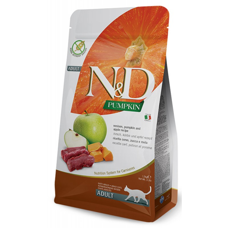 Сухой корм для кошек Farmina N&D Pumpkin Adult беззерновой с олениной, тыквой и яблоком 1,5 кг