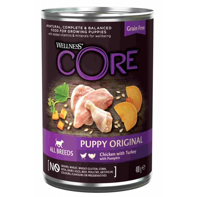 Влажный корм для щенков Wellness Core 95 с курицей, индейкой и тыквой 0,4 кг