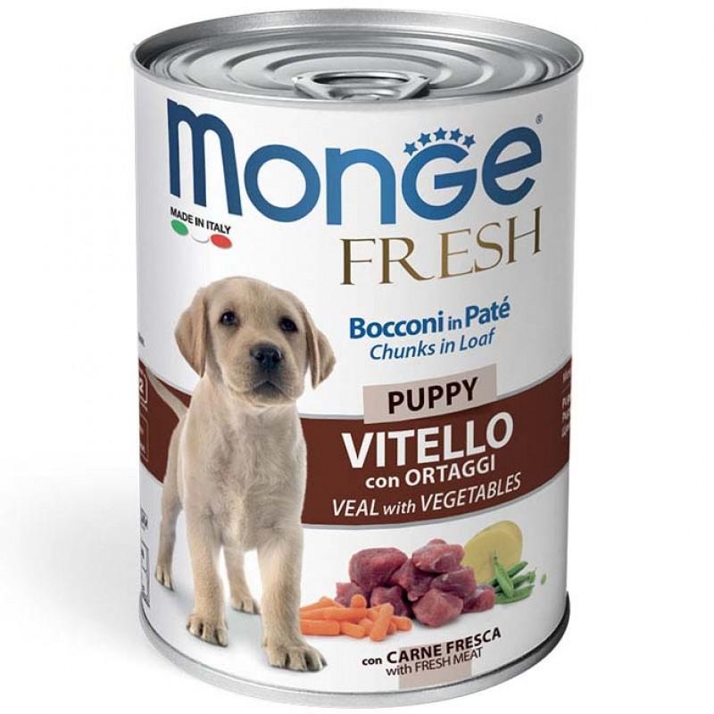 Влажный корм для собак Monge Fresh Chunks in Loaf мясной рулет телятина с овощами 0,4 кг