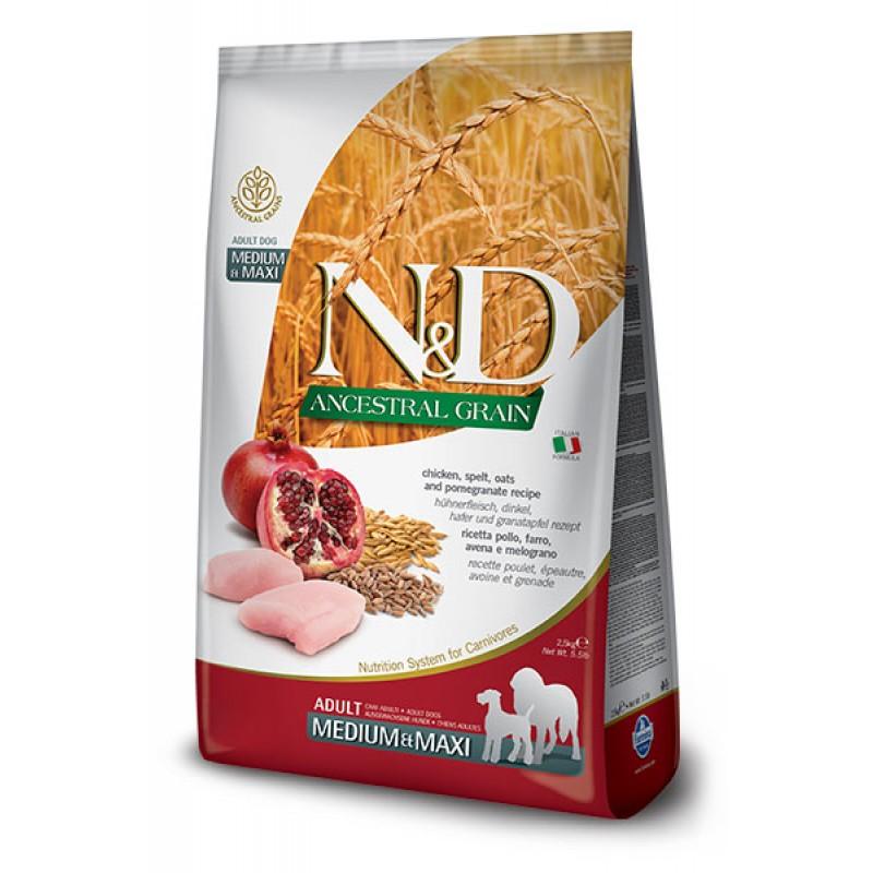 Сухой корм для собак Farmina N&D Ancestral Grain Adult Medium & Maxi низкозерновой с курицей и гранатом 15 кг