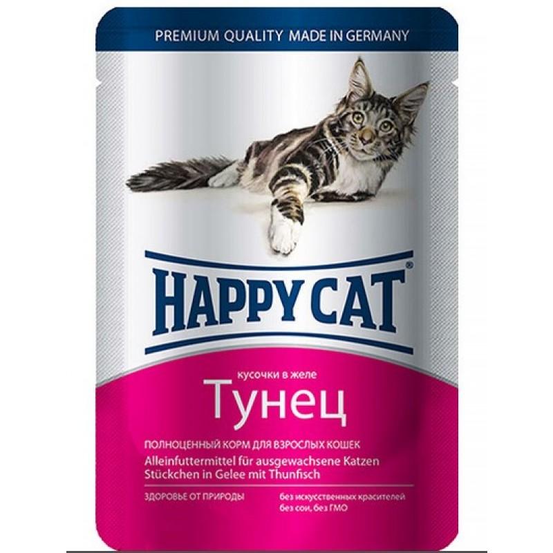 Влажный корм для кошек Happy Cat кусочки в желе пауч, с тунцом 0,1 кг
