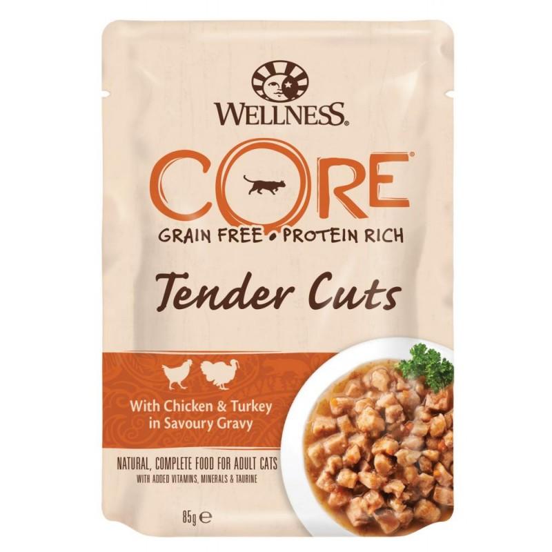 Влажный корм для кошек Wellness Core Tender Cuts Нежные Кусочки Курицы и Индейки в Пикантном Соусе 0,085 кг
