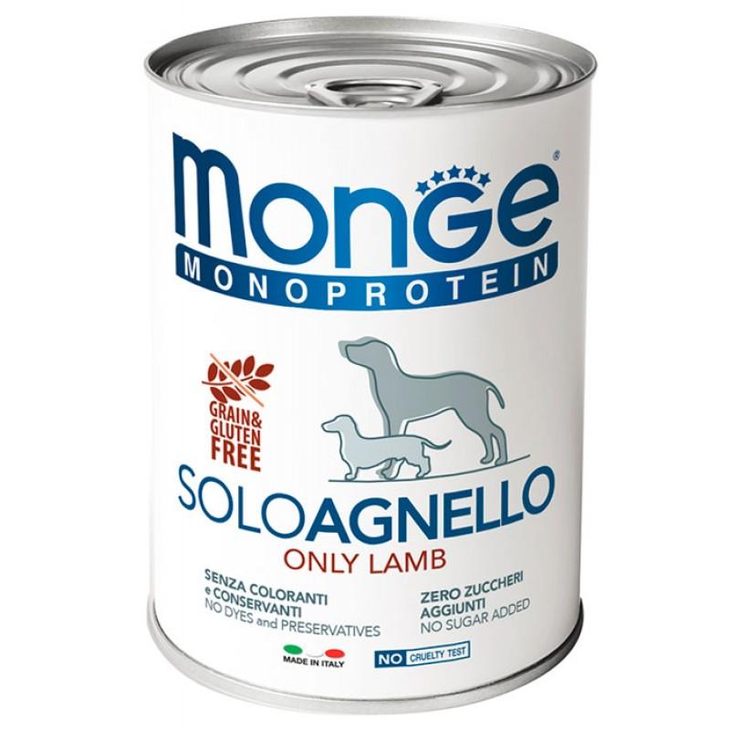 Влажный корм для собак Monge Monoproteico Solo паштет из ягненка 0,4 кг