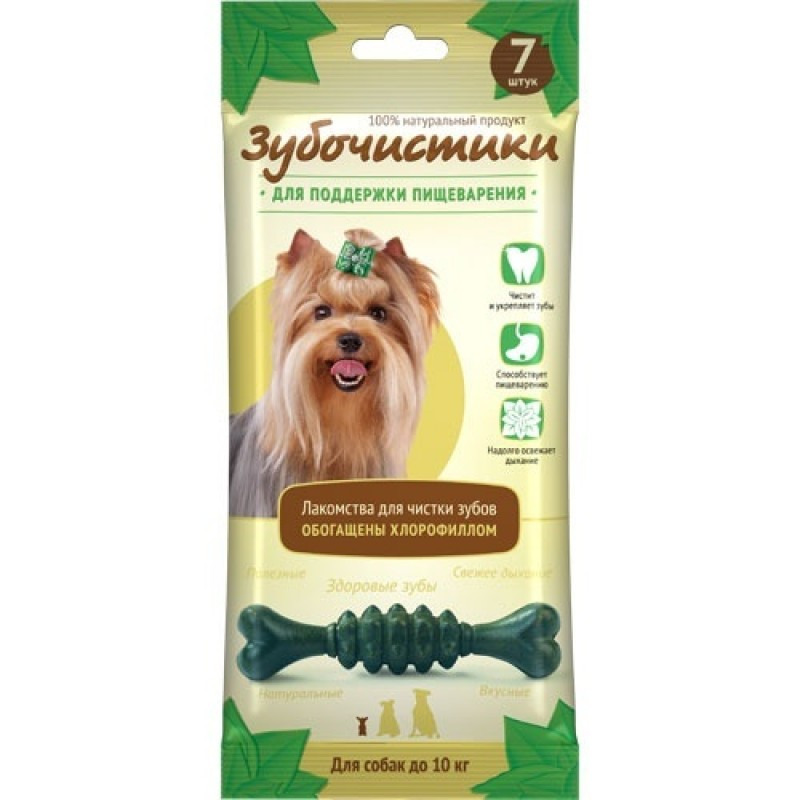 Лакомство для собак маленьких пород Зубочистики Мятные с хлорофиллом 0,06 кг