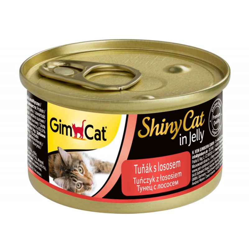 Влажный корм для кошек Gimborn GimCat ShinyCat с тунцом и лососем 0,07 кг