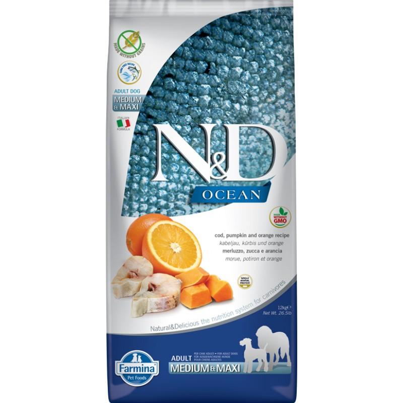 Сухой корм для собак Farmina N&D Ocean Adult Medium & Maxi беззерновой с треской, апельсином и тыквой 12 кг