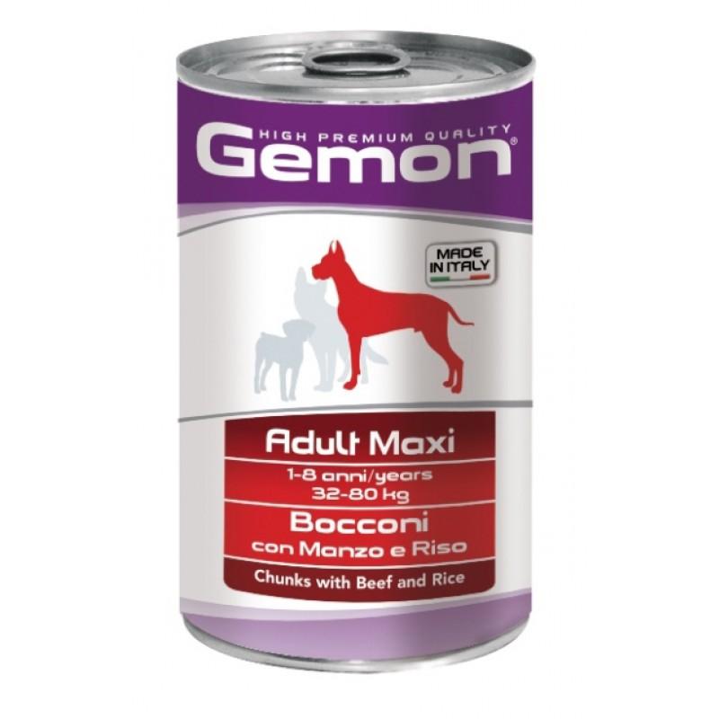 Влажный корм для собак Gemon Dog Maxi кусочки говядины с рисом для крупных пород 1,25 кг