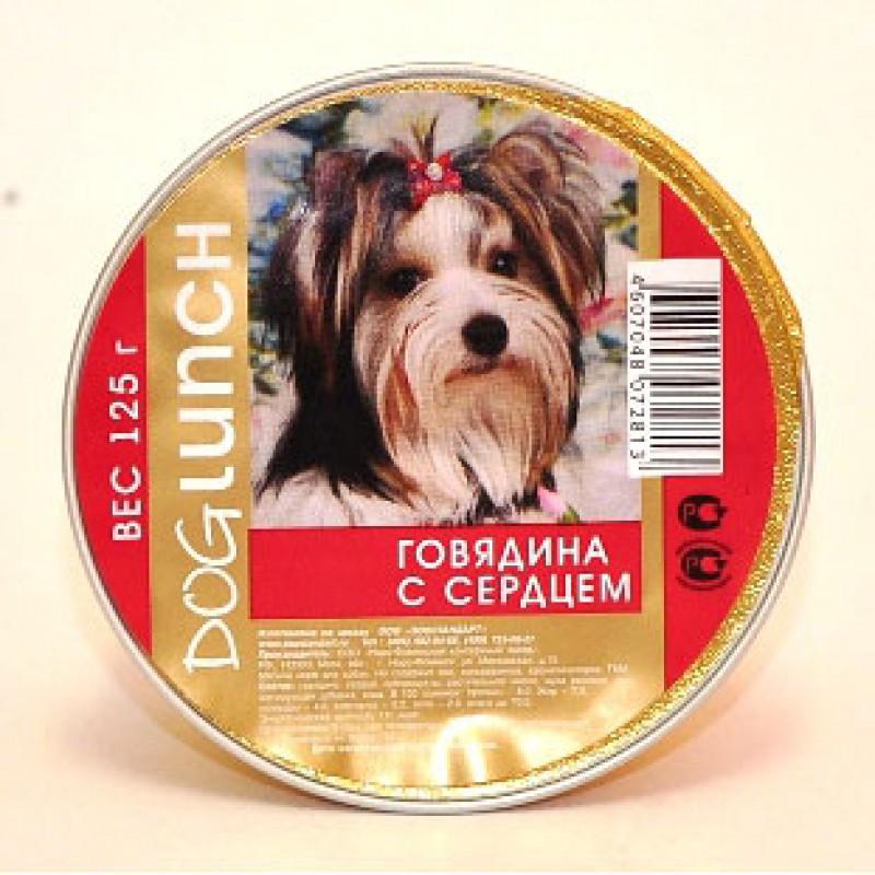 Влажный корм для собак Dog Lunch Крем-суфле Говядина с сердцем 0,125 кг