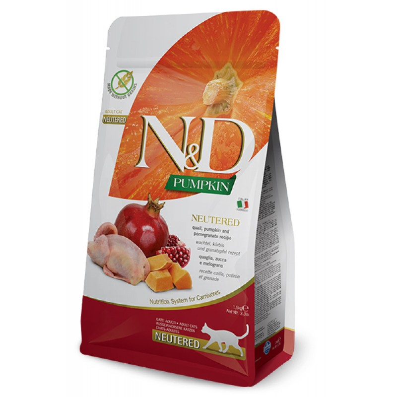 Сухой корм для кошек Farmina N&D Pumpkin Neutered беззерновой с перепелом, тыквой и гранатом 5 кг