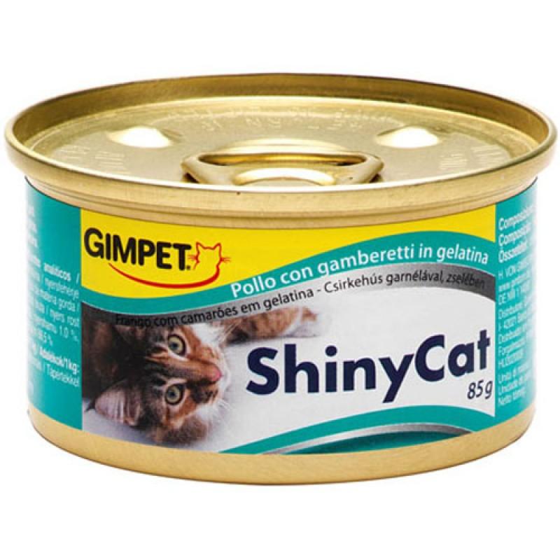 Влажный корм для кошек Gimpet ShinyCat цыпленок/креветки 0,085 кг