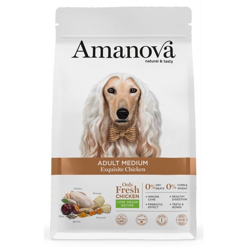 Сухой корм для собак Amanova Adult Medium с изысканной курочкой для средних пород 12 кг