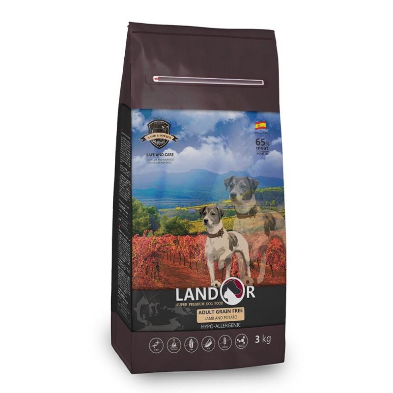 Сухой корм для собак Landor полнорационный беззерновой ягненок с бататом 15 кг