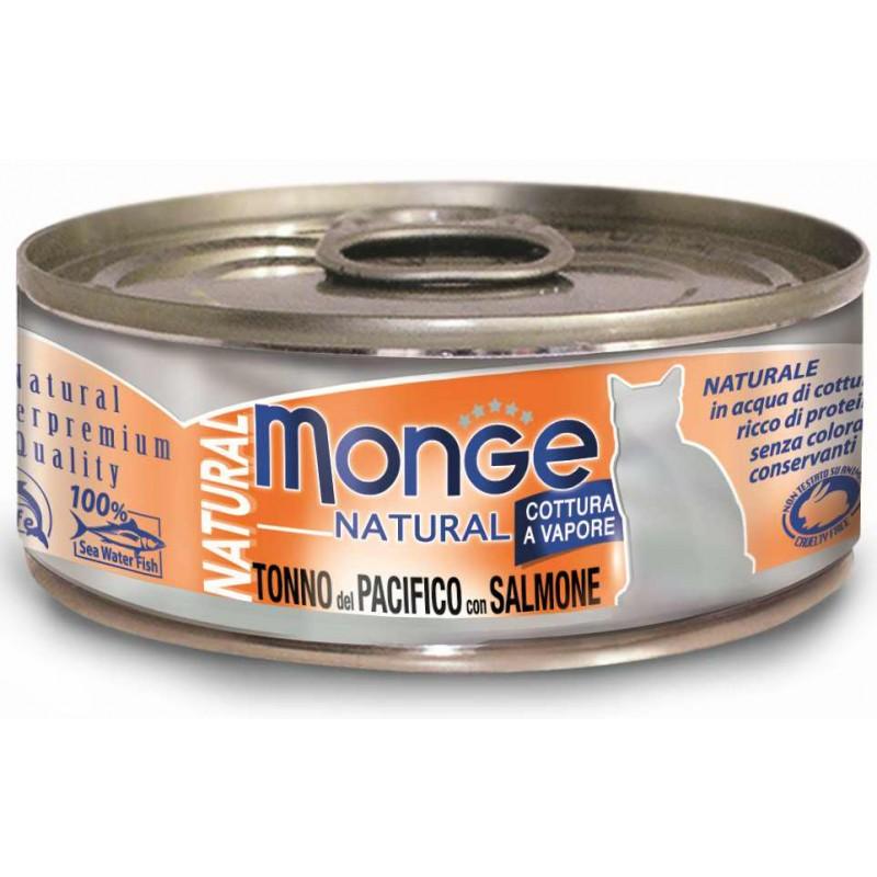Влажный корм для кошек Monge Natural тунец с лососем 0,08 кг