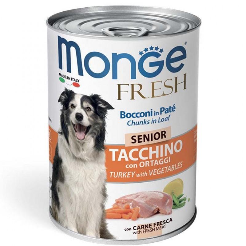 Влажный корм для собак Monge Fresh Chunks in Loaf консервы для пожилых собак мясной рулет индейка с овощами 0,4 кг