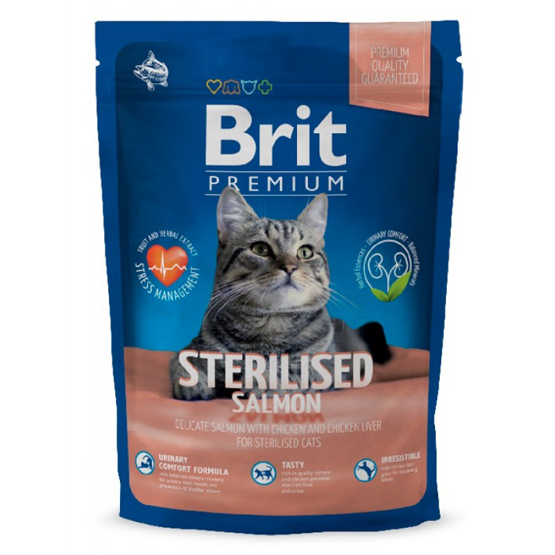 Сухой корм для кошек Brit Premium Cat Sterilised с лососем 1,5 кг