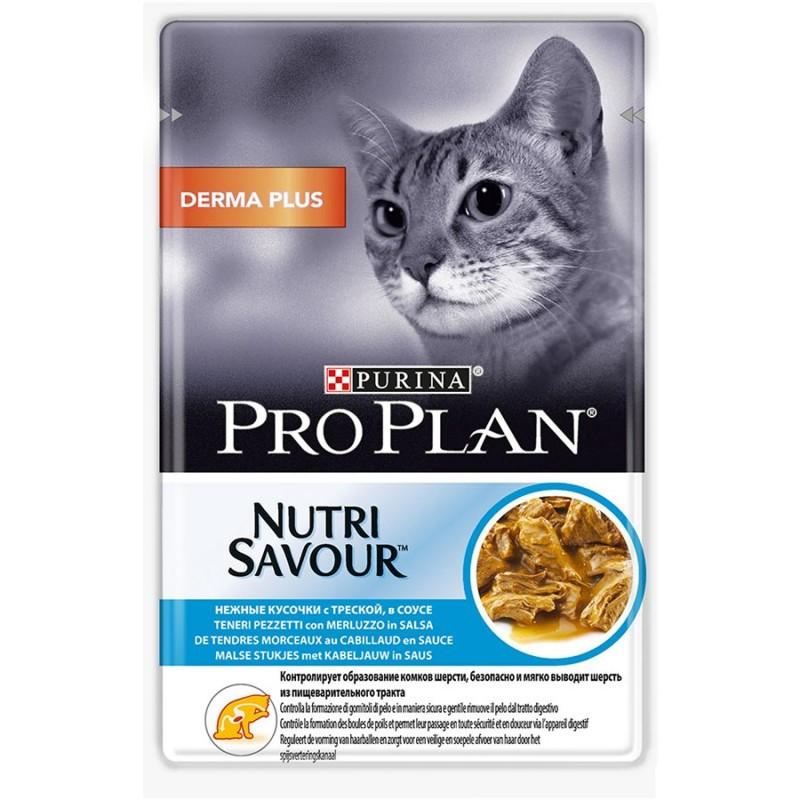 Влажный корм для кошек Purina Pro Plan NutriSavour Derma Plus с треской в соусе 0,085 кг