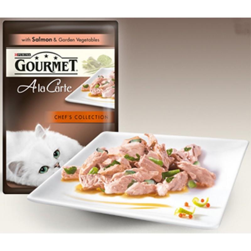 Влажный корм для кошек Gourmet A la Carte пауч Лосось со шпинатом и цукини а-ля Флорентине 0,085 кг