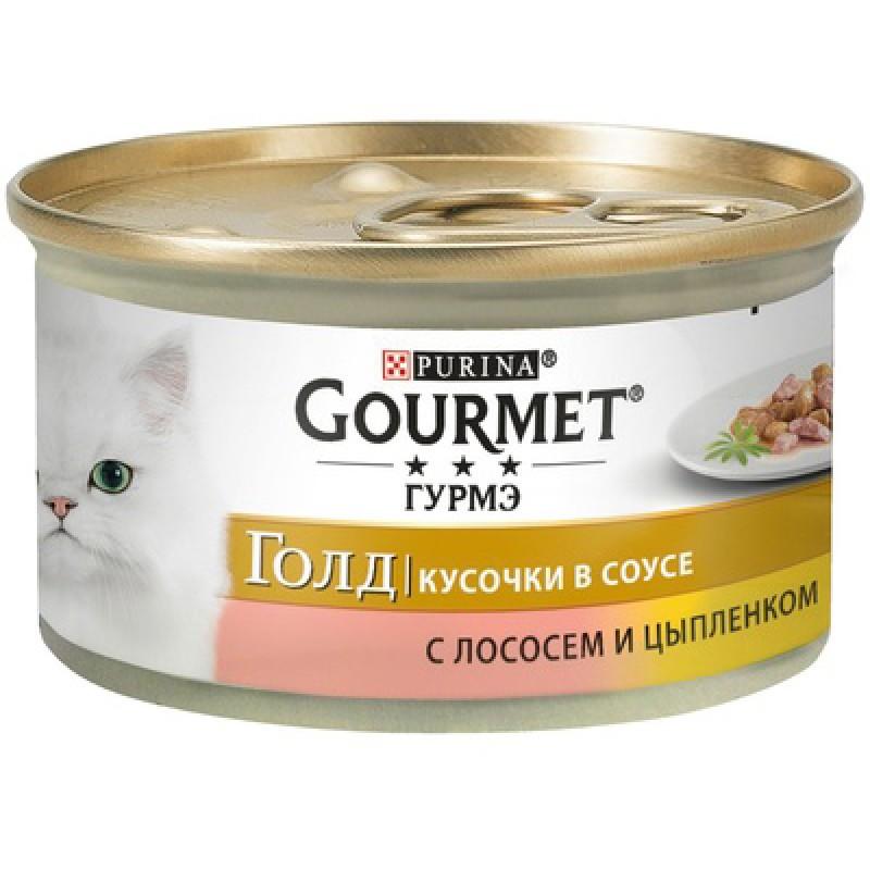 Влажный корм для кошек Gourmet Gold кусочки в подливе с лососем и цыпленком 0,085 кг