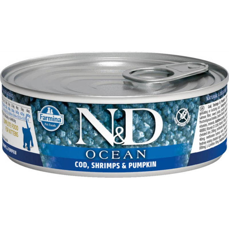 Влажный корм для котят Farmina N & D Ocean Cod, Shrimp & Pumpkin Kitt с треской, креветками и тыквой 0,08 кг
