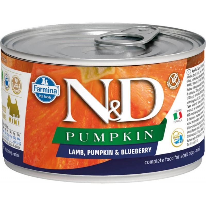 Влажный корм для собак Farmina N & D Lamb, Pumpkin & Blueberry Min с ягненком, черникой и тыквой для маленьких пород 0,14 кг