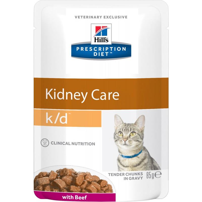 Влажный корм Hills Prescription Diet k/d Feline with Beef Pouch диета для кошек 0,085 кг