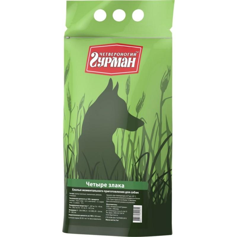 Каша для собак Четвероногий Гурман 4 злака в пакете 3 кг