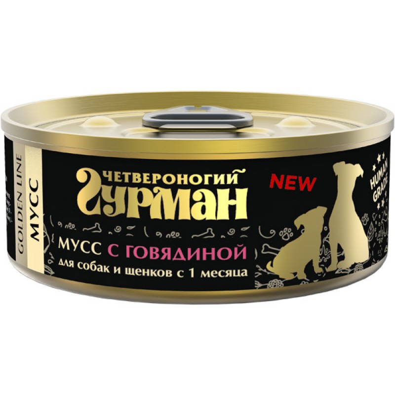 Влажный корм для собак Четвероногий Гурман Мусс с говядиной 0,1 кг