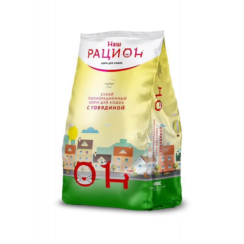 Сухой корм для кошек Наш Рацион С говядиной 0,4 кг