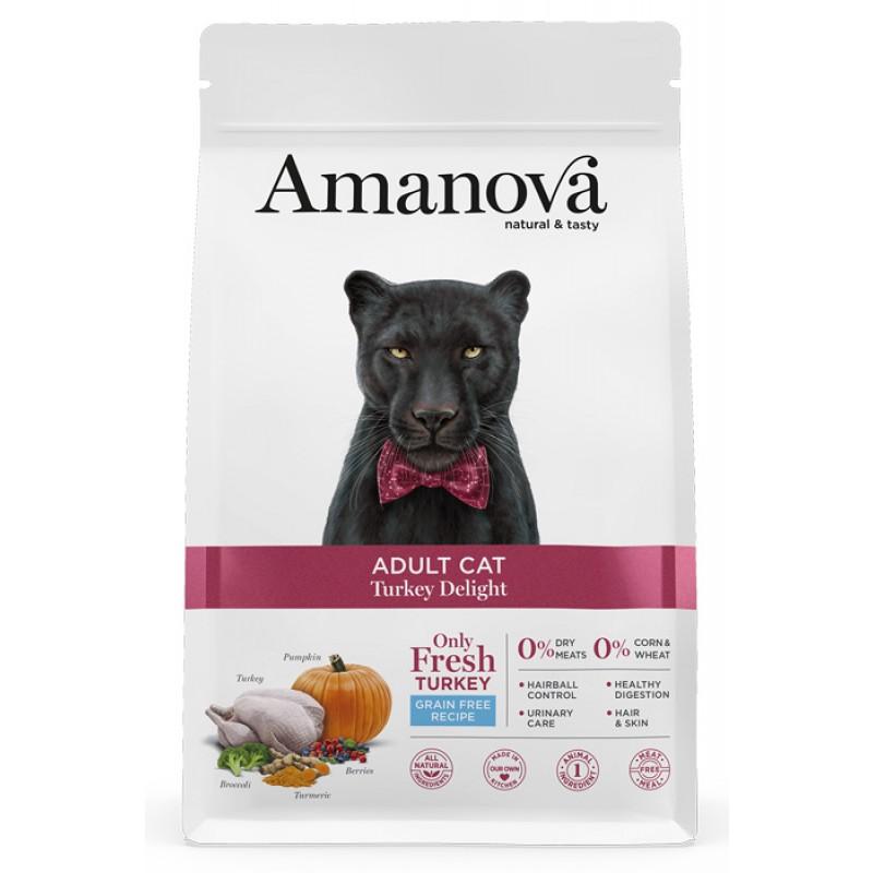 Сухой корм для кошек Amanova GF Adult с дивной индейкой 1,5 кг