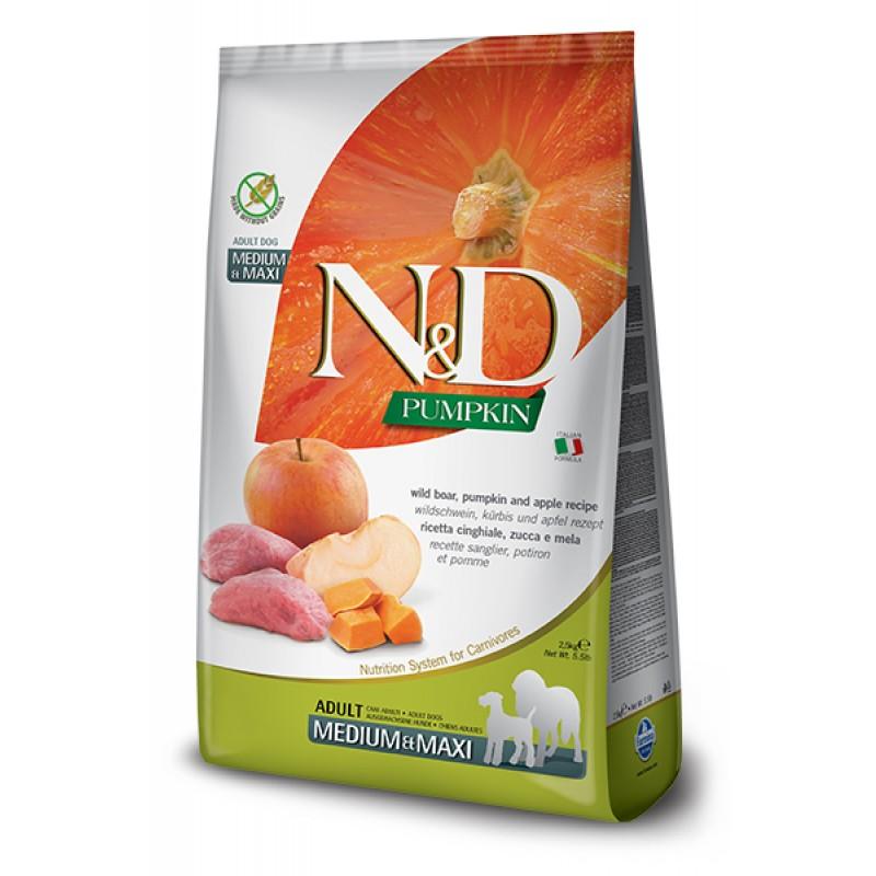 Сухой корм для собак Farmina N&D Pumpkin Adult Medium & Maxi беззерновой с кабаном, яблоком и тыквой  2,5 кг