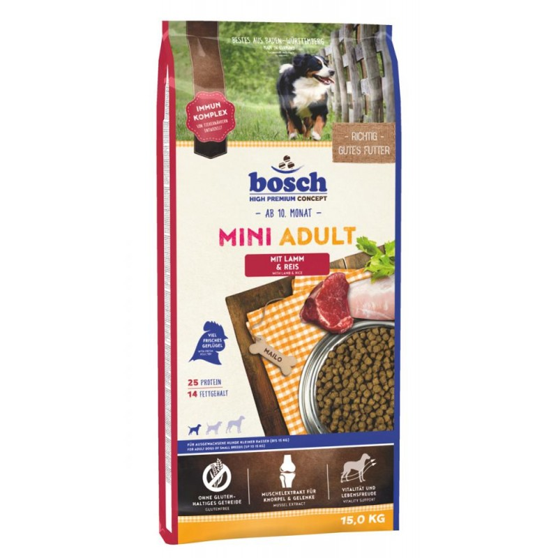 Сухой корм для собак Bosch Mini Adult с ягнёнком и рисом 15 кг